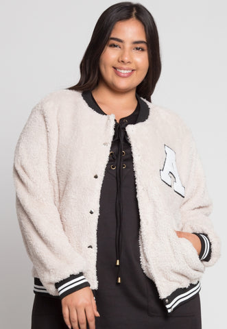 Plus Size Letterman Teddy Varsity Jacket in Beige