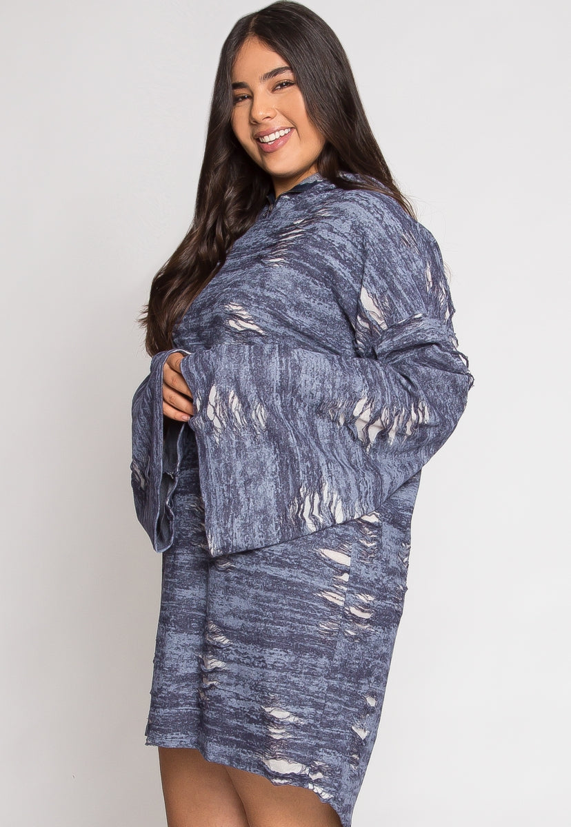 Plus Size Fall Apart Distressed Dress | Wet Seal