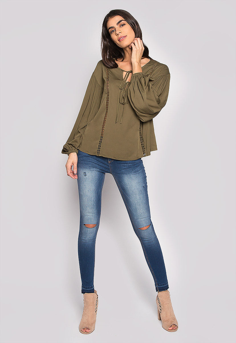 One Love Loose Fit Blouse In Olive - Shirts & Blouses - Wetseal