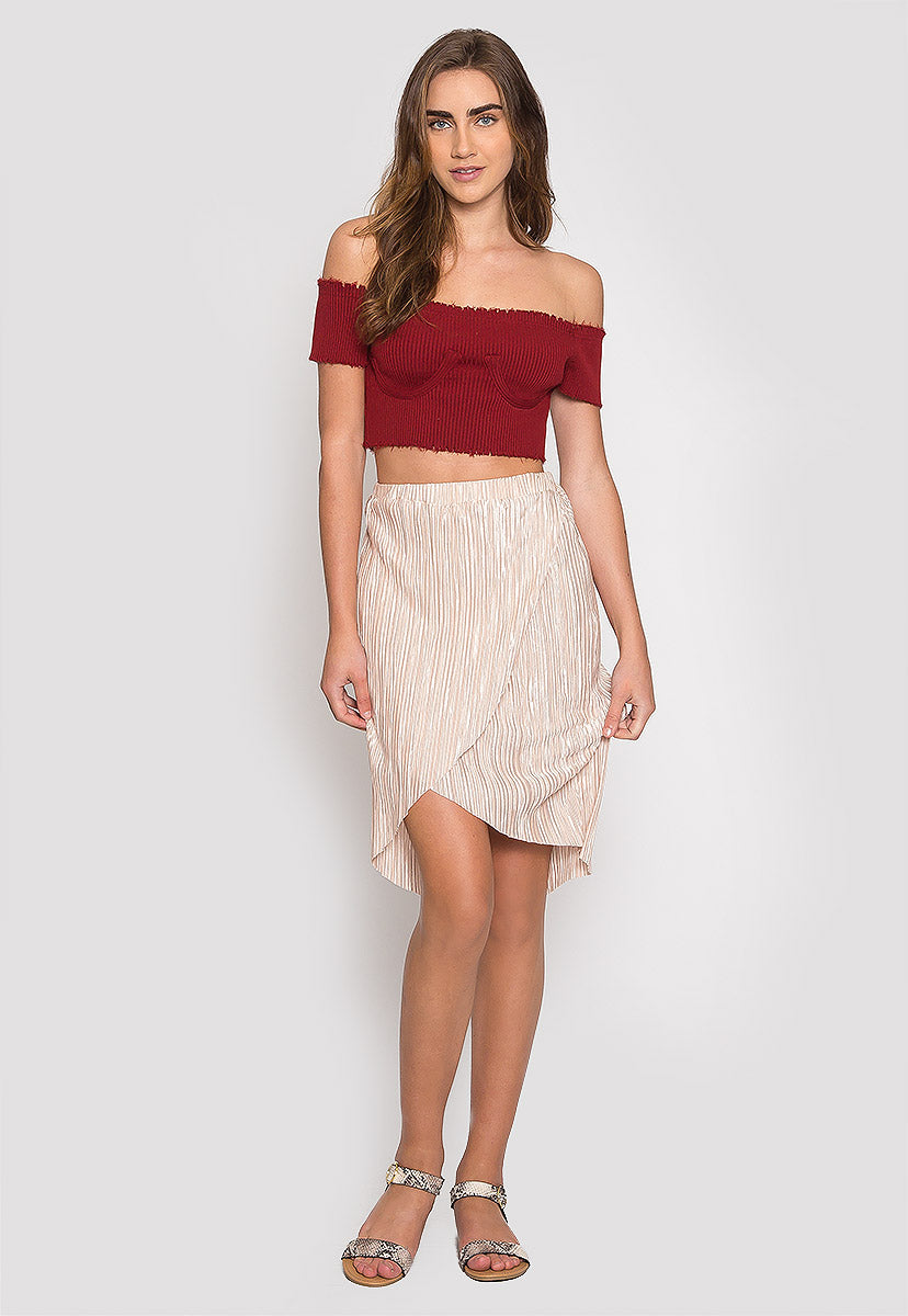 Faux Underwire Short Sleeve Top in Burgundy - Crop Tops - Wetseal