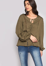 One Love Loose Fit Blouse In Olive