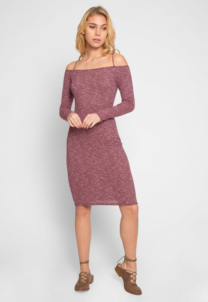 All Hope Marled Off Shoulder Dress in Burgundy - Dresses - Wetseal