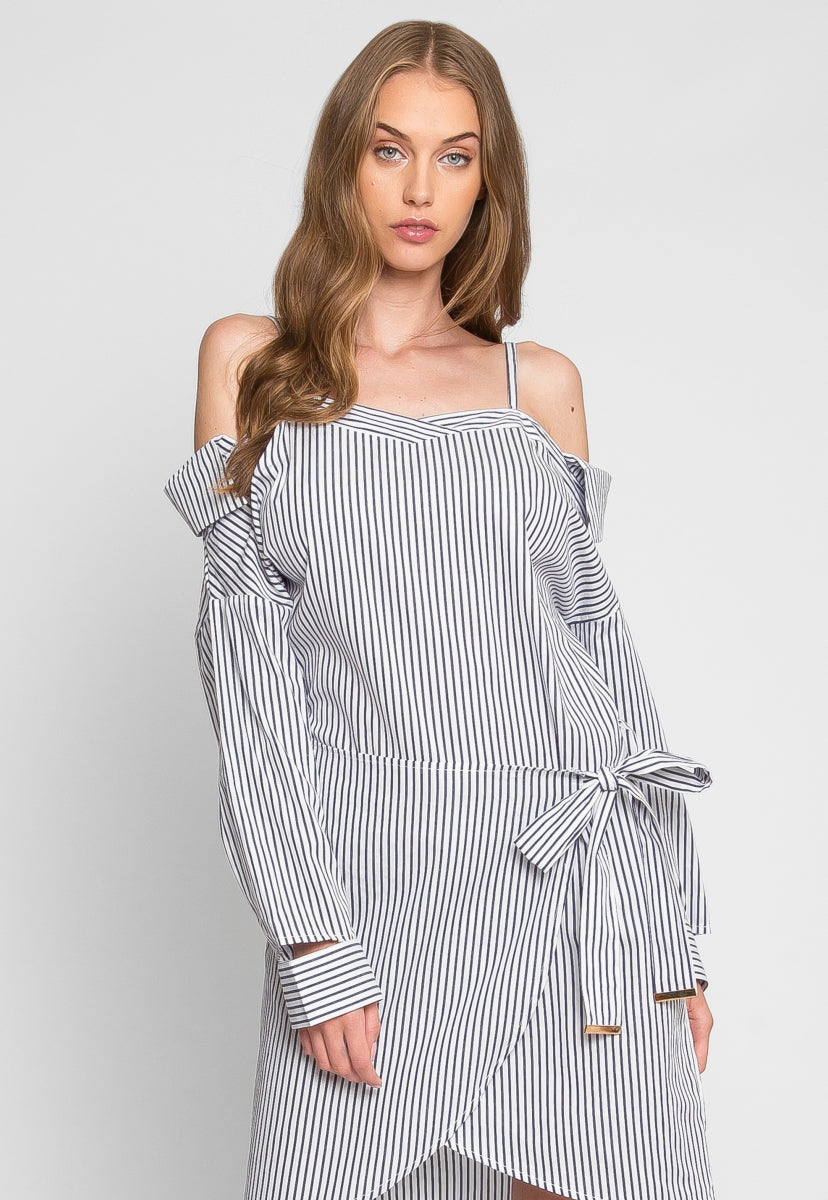 Sun and Sky Stripe Wrap Dress - Dresses - Wetseal