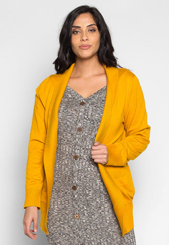 Plus Size Sunset Lover Open Front Cardigan in Mustard