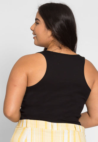 Plus Size Cali Basic Tank Top in Black