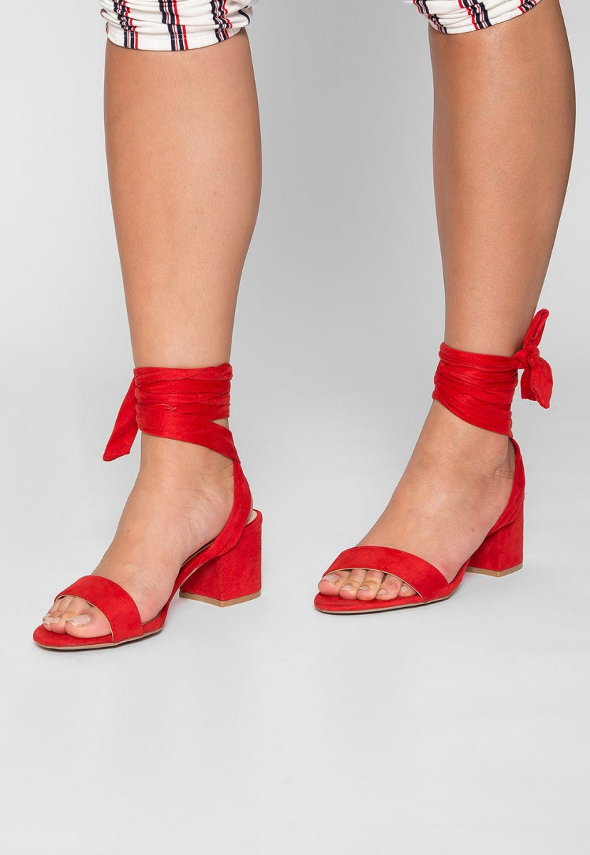Kitty Ballerina Sandal Heels in Red - Shoes - Wetseal