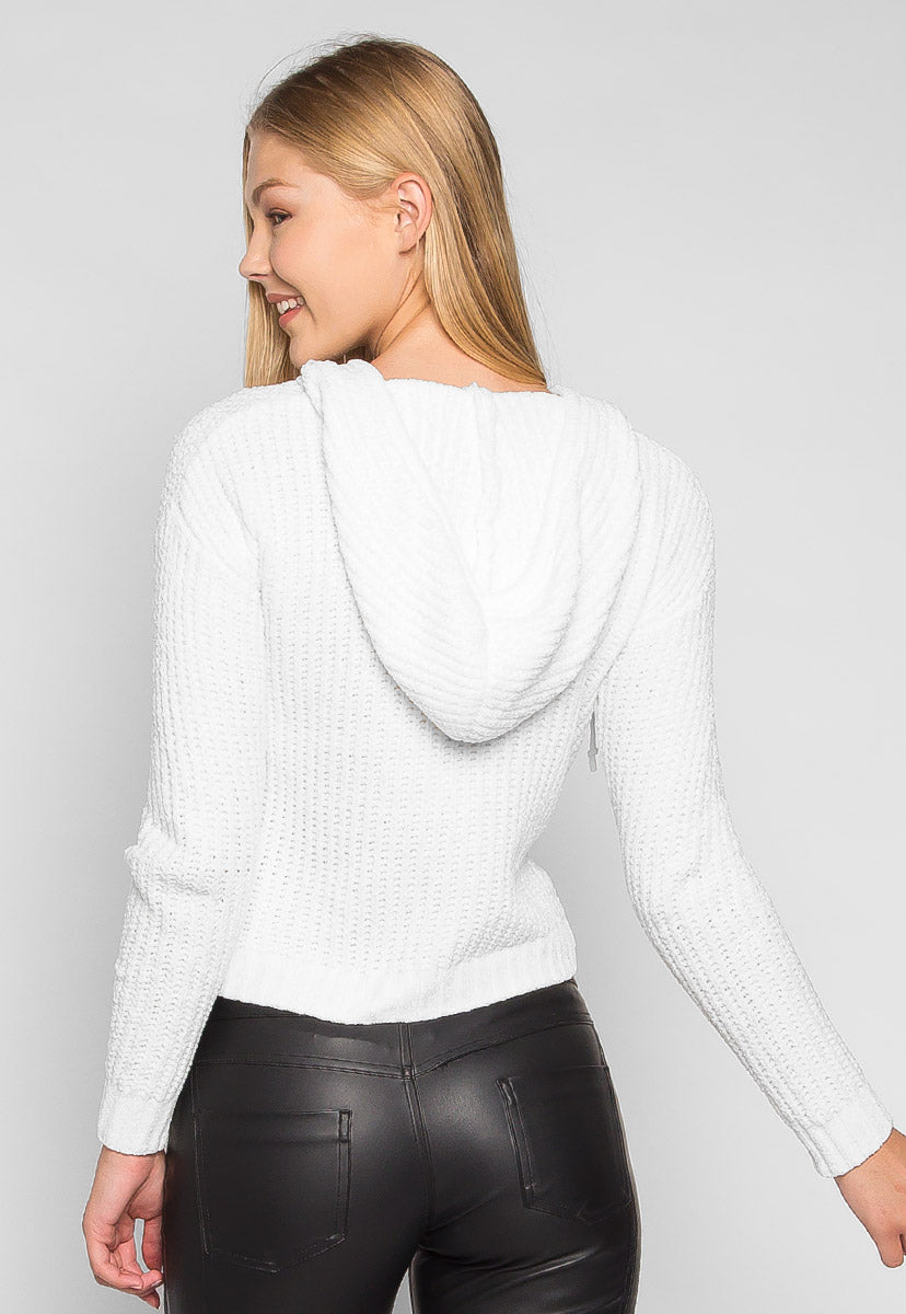Whipped Cream Rib Knit Chenille Hooded Sweater - Sweaters & Sweatshirts - Wetseal