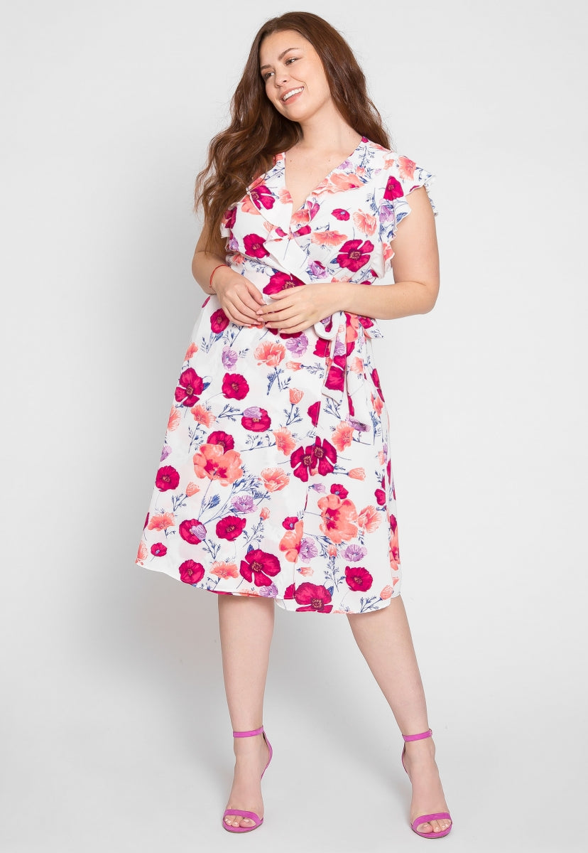 Plus Size Shake Floral Ruffle Surplice Dress - Plus Dresses - Wetseal