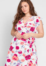 Plus Size Shake Floral Ruffle Surplice Dress