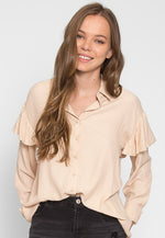 Estrella Flounce Button Up Shirt in Beige