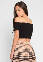 Faux Underwire Short Sleeve Top in Black