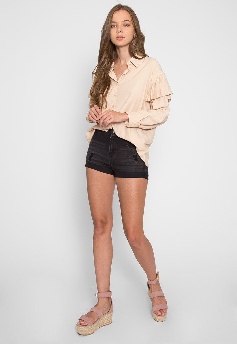 Estrella Flounce Button Up Shirt in Beige - Shirts & Blouses - Wetseal