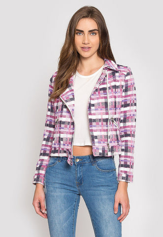 Ellen Plaid Moto Jacket