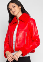 All Stars Luxe Bomber Jacket in Red