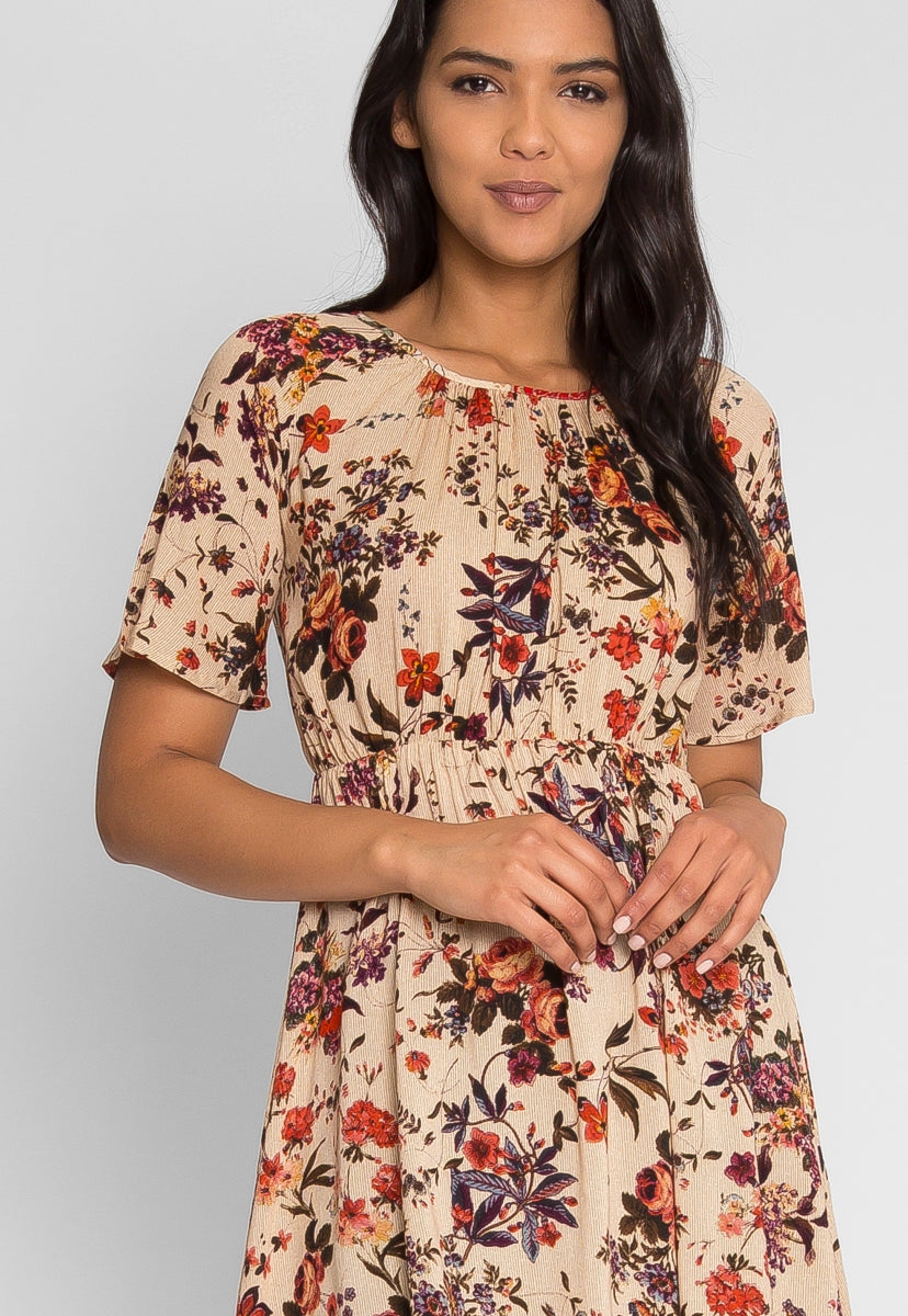 Believing Floral Dress in Mocha - Dresses - Wetseal