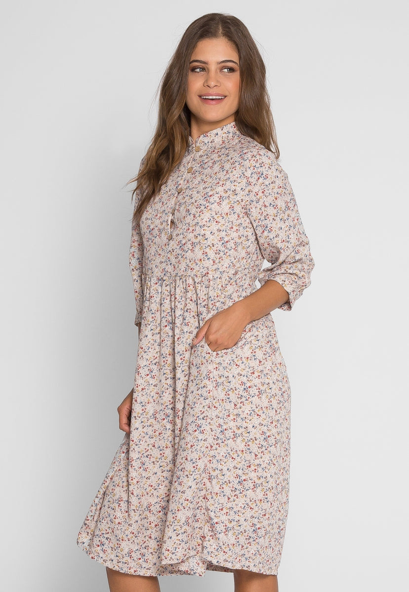 Addie Floral Midi Dress in Beige - Dresses - Wetseal