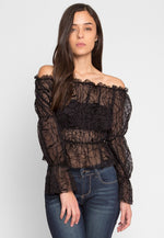 Hollows Sheer Gathered Top in Black Print