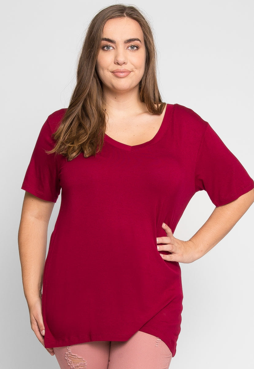 Plus Size Greatest Boxy Tee in Wine - Plus Tops - Wetseal