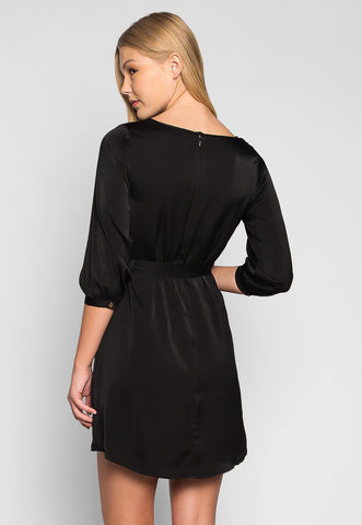 Playing Hard Cut Out Pleated Dress in Black