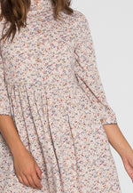 Addie Floral Midi Dress in Beige