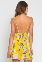 Garden Party Floral Flare Dress in Yellow