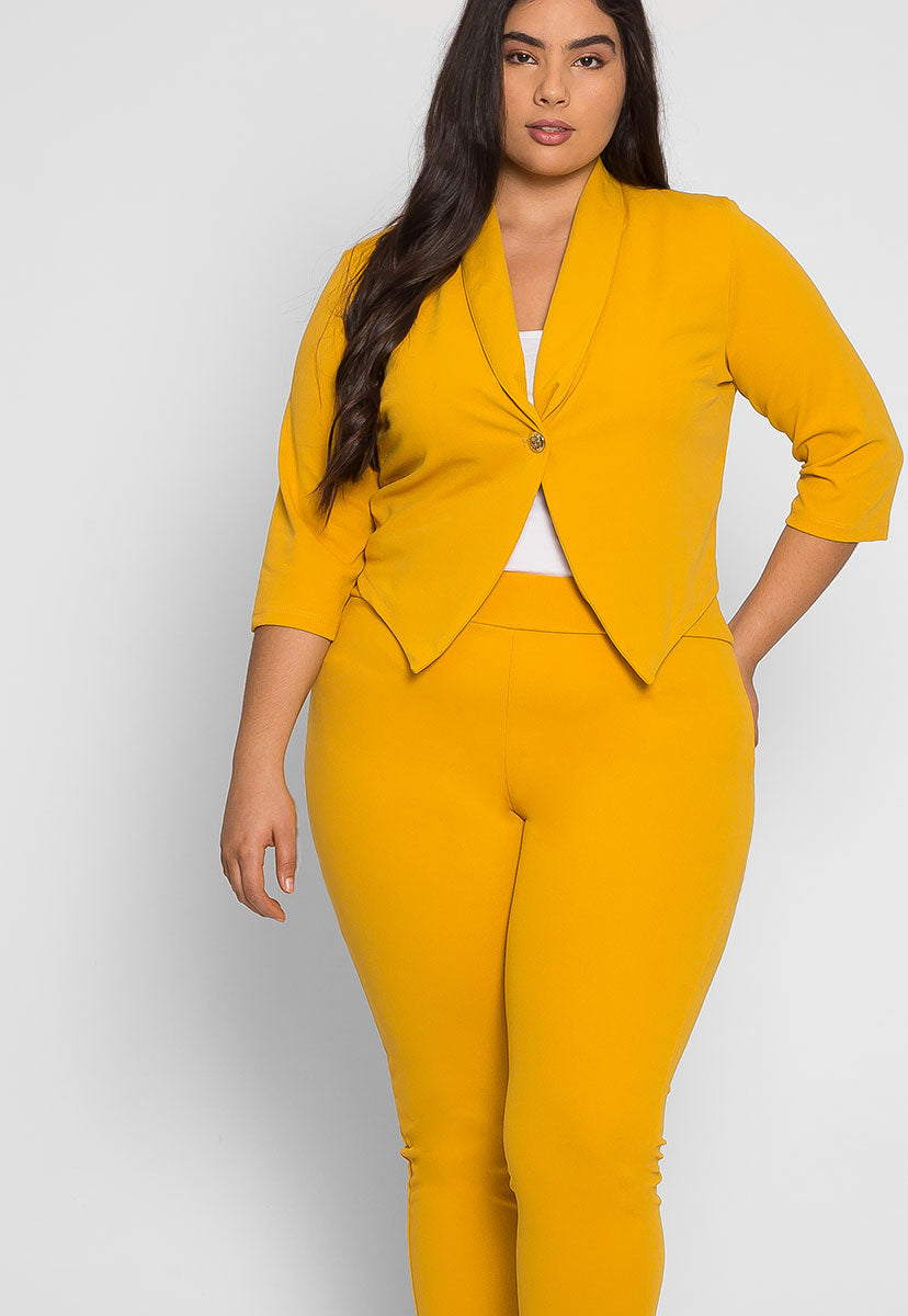 Plus Size Leader Girl Blazer and Pants Set - Plus Dresses - Wetseal