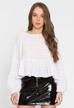 Peck Windowpane Peplum Gauze Top