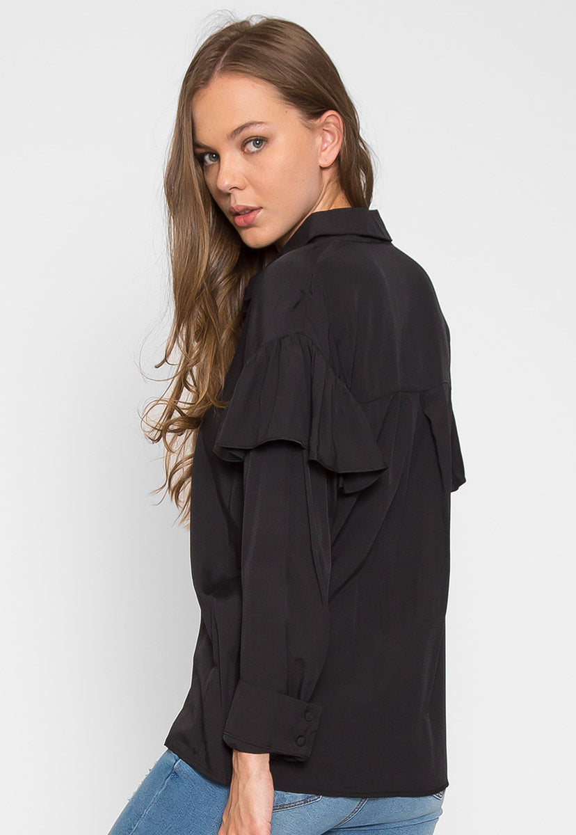Estrella Flounce Button Up Shirt in Black - Shirts & Blouses - Wetseal
