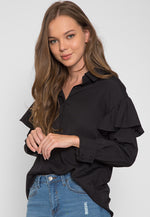 Estrella Flounce Button Up Shirt in Black