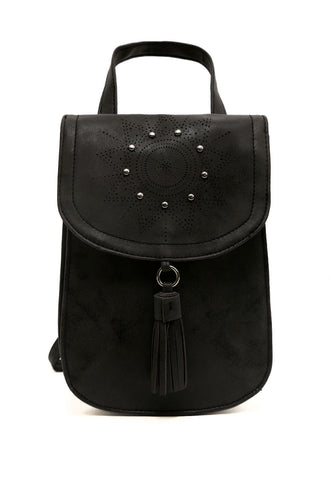 Peace Studded Mini Backpack in Black