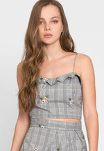 I See You Plaid Floral Crop Top