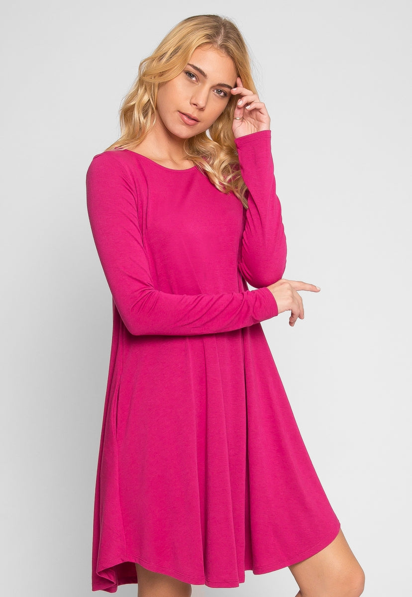 Magic Knit Dress in Magenta - Dresses - Wetseal