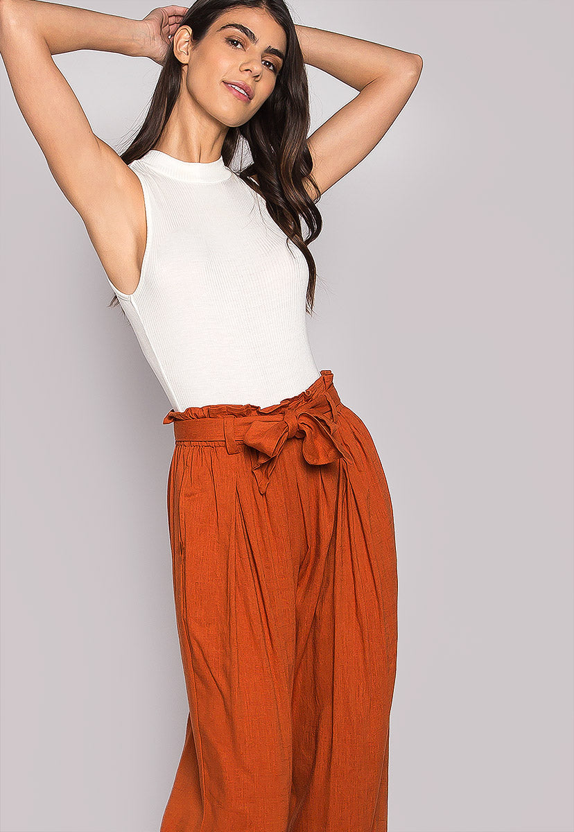 P.S. I Love You Paper Bag Wide Leg Pants - Pants - Wetseal