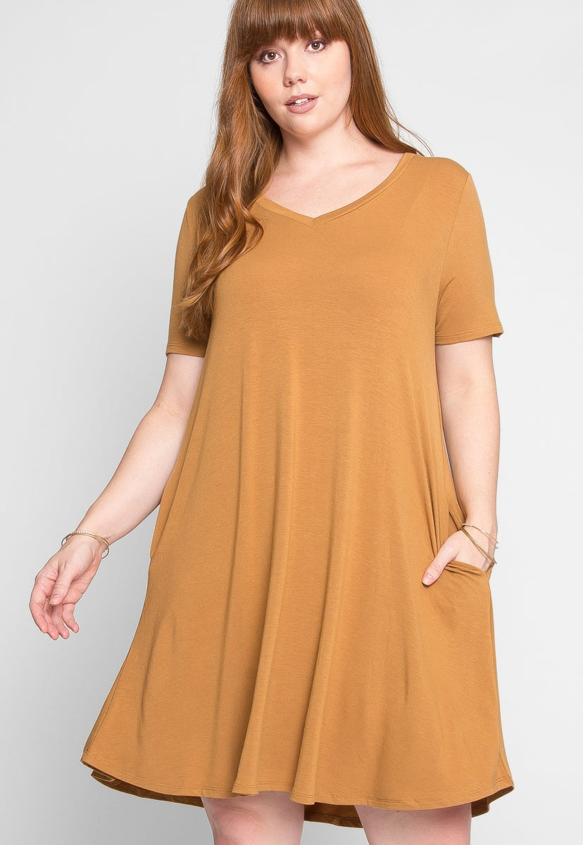 Plus Size V-Neck Tee Dress in Mocha