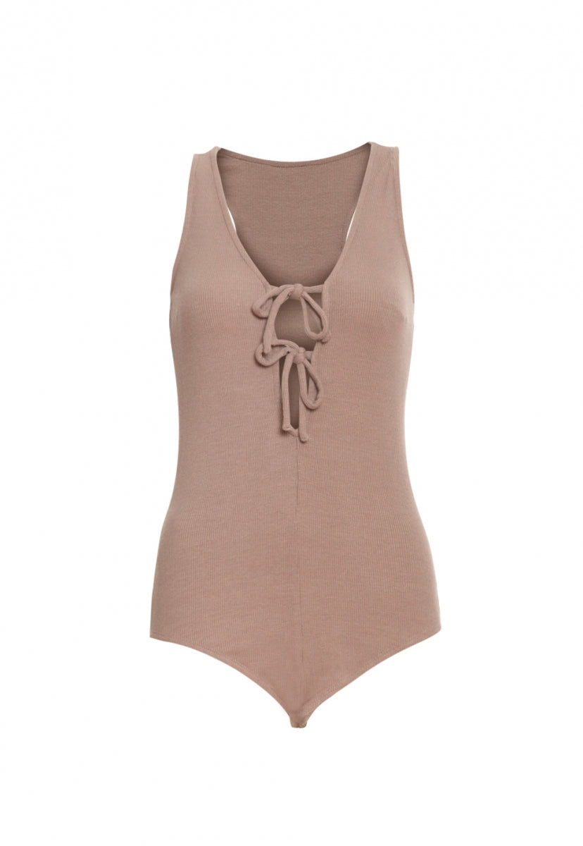 Get Back Knit Bodysuit in Taupe - Bodysuits - Wetseal