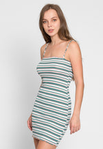 Jolly Stripe Bodycon Dress in Green