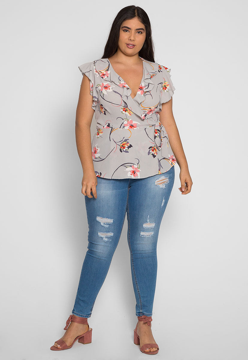 Plus Size Remember Me Wrap Blouse in Gray - Plus Tops - Wetseal