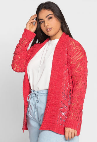 Plus Size Spring Air Crochet Cardigan