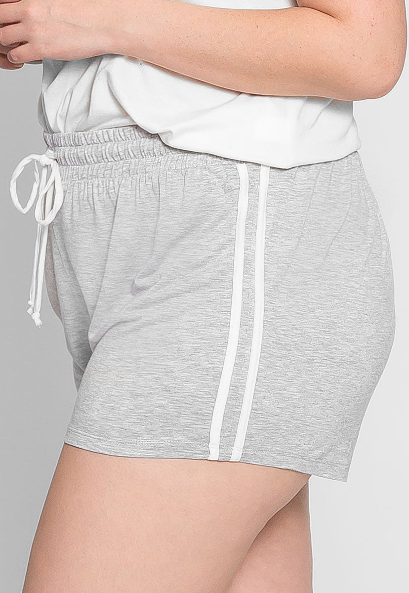 Plus Size Lounge Active Shorts in Gray - Plus Bottoms - Wetseal