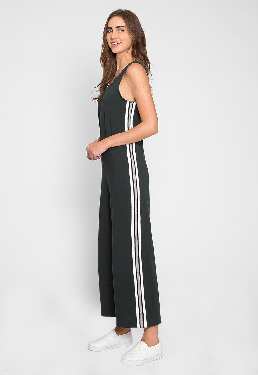 Sporty Side Stripe Jumpsuit in Green - Rompers & Jumpsuits - Wetseal