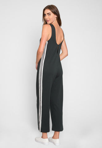 Sporty Side Stripe Jumpsuit in Green