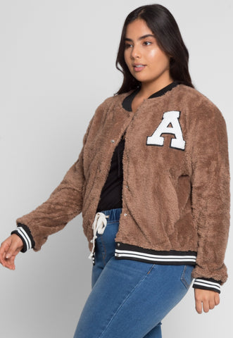 Plus Size Letterman Teddy Varsity Jacket in Brown