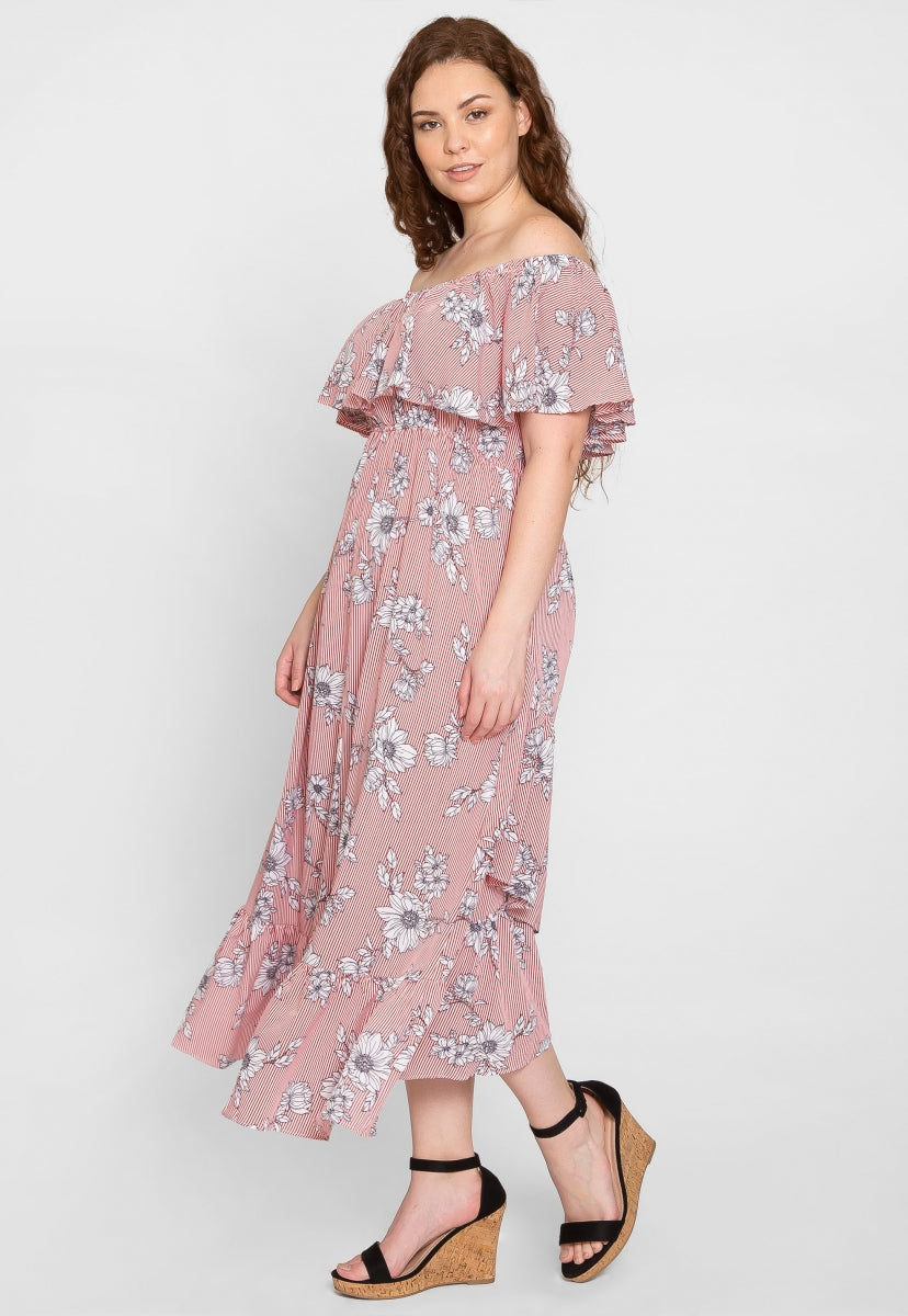 Plus Size Floral Stripe Maxi Dress - Plus Dresses - Wetseal