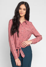 Stiletto Print Button Up Shirt