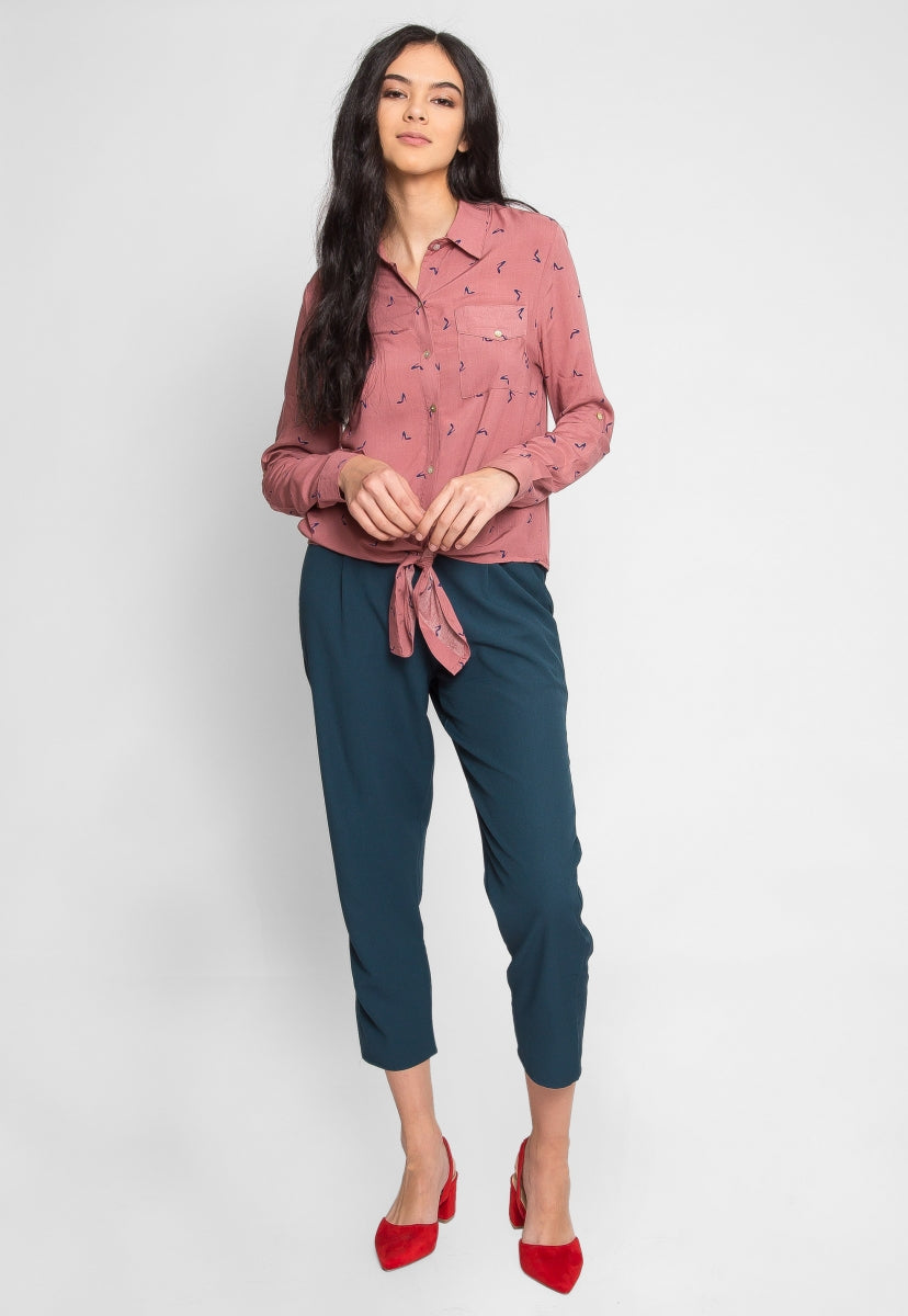 Stiletto Print Button Up Shirt - Shirts & Blouses - Wetseal