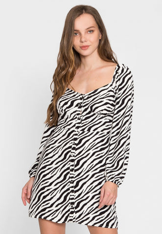 Revival Zebra Button Front Mini Dress