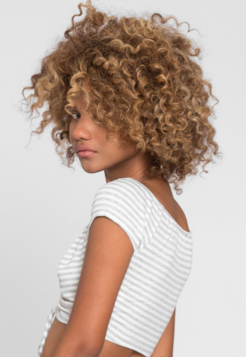 Markle Stripe Ruched Crop Top in Gray - Crop Tops - Wetseal
