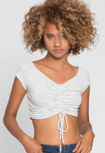 Markle Stripe Ruched Crop Top in Gray