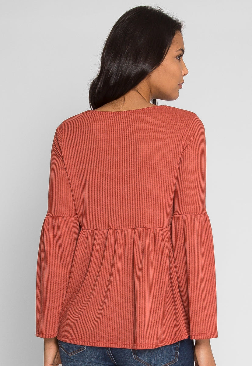 Oak Tree Peplum Knit Top in Rust - Shirts & Blouses - Wetseal