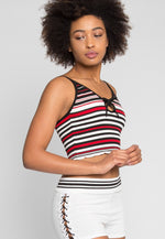Go Go Stripe Crop Top in Red